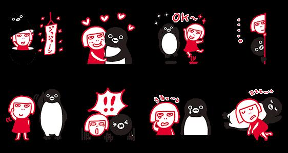 限定スタンプ::ルミネのルミ姉×Suicaのペンギン