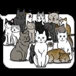 公式スタンプ::動く!吹き出しに群がる猫