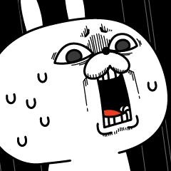 人気スタンプ特集::激しく動く!顔芸うさぎ5