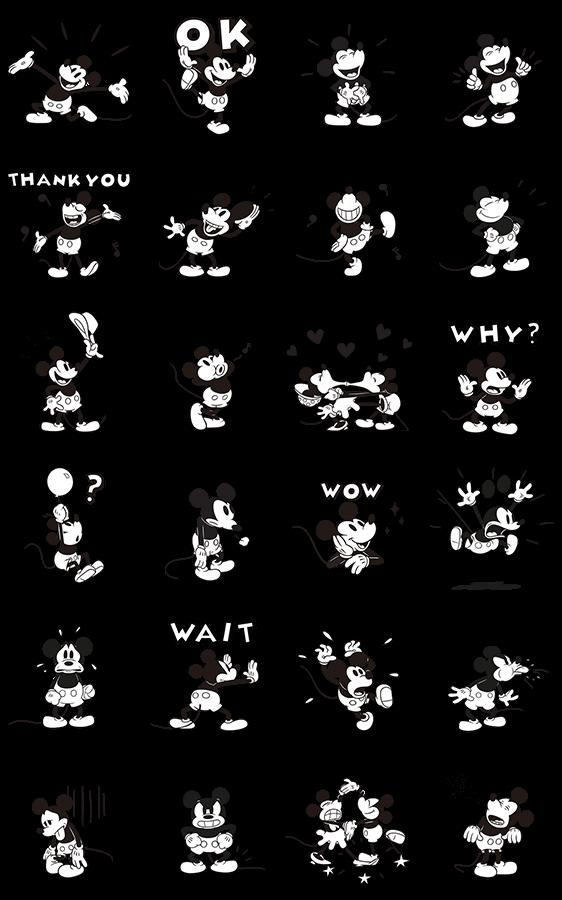 人気スタンプ特集::ミッキーマウス(モノクロ)