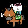 隠し無料スタンプ::自分ツッコミくま×第86回日本ダービー