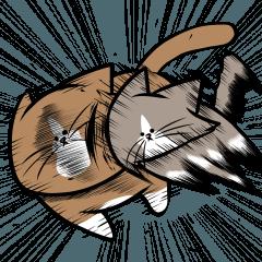 人気スタンプ特集::鴻池剛と猫のぽんた ニャアアアン!2