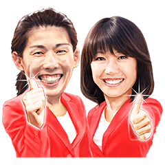 限定無料スタンプ::高橋尚子 & 吉田沙保里