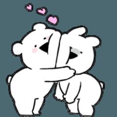 人気スタンプ特集::すこぶる動くちびウサギ&クマ【ラブラブ】