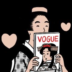 隠し無料スタンプ::ヴォーグと山田全自動の浮世絵スタンプ