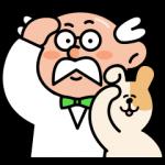 限定無料スタンプ::やんちゃイヌ(助手)とポイント博士
