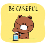 限定無料スタンプ::BROWN 感染予防スタンプ