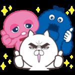限定無料スタンプ::UQ×目ヂカラ☆にゃんこ